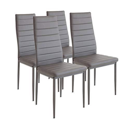 Albatros 2553 MILANO Set di 4 sedie da pranzo, grigio