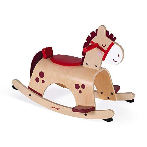 Janod, Pony a Dondolo, in Legno, Colori Delicati e Attuali, ottimo per L'Apprendimento dell'Equilibrio, Sistema Antiribaltamento, Giocattolo per Bambini da 1 a 2 Anni, J08023