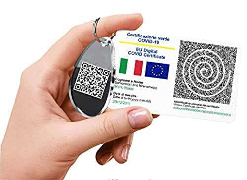 Stampa il tuo GREEN PASS in PVC su tessera BADGE + portachiavi in plexglass, CARD PVC, BANCOMAT Certificato di Vaccinazione QR Code 85mmx55mm