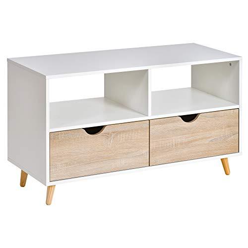 homcom Mobiletto Porta TV in Legno con Design Moderno, 2 Cassetti e 2 Ripiani, Bianco e Color Legno, 99x39x58cm