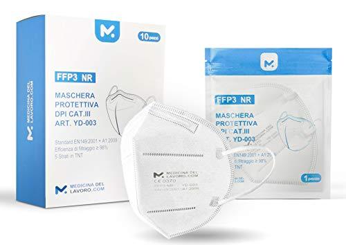 Mascherine FFP3 Certificate CE, Mascherina 5 Strati Senza Valvola, Maschera Facciale di Protezione da Polvere e Antiparticolato, Face Mask Protettiva con Alta Efficienza di Filtraggio BFE≥98, 10 Pezzi