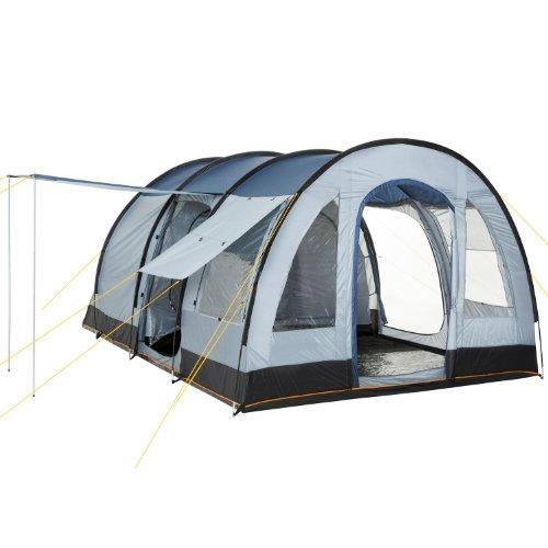 CampFeuer Tenda a Tunnel TunnelX | Tenda familiare Grande con 3 ingressi | Grigio/Blu | 5.000 mm di Colonna d'Acqua | Tenda per 4 Persone, Tenda da Campeggio (Blu/Grigio)