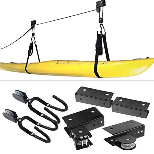 Ascensore della Gru di Kayak, Gru della Canoa di stoccaggio del Garage con la Corda Durevole, Portapacchi sospeso con Ganci per Paddle Board, tavola da Surf, Canoa, Bici - 125lb di capacità