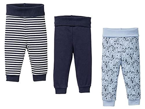 Lupilu - 3 pantaloni da bambino in cotone organico, a righe e blu 86-92