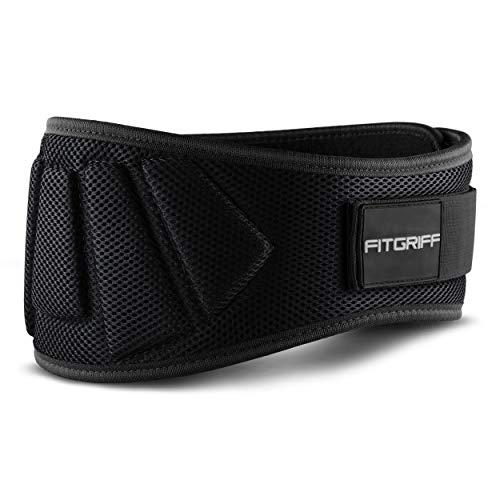 Fitgriff Cintura Palestra V1 - Cintura Sollevamento Pesi Neoprene - per Donna & Uomo - Pwerlifting, Bodybuilding, Crossfit, Squat - Black Small