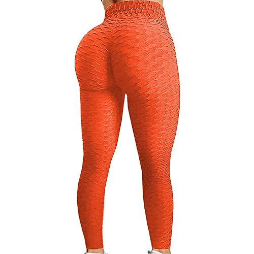 Loalirando Pantaloni da Yoga da Donna Sport a Vita Alta Butt Scrunch Push Up Leggings Fitness Tinta Unita Stretch Palestra Sport Pantaloni da Corsa per Donna (Arancione, S)