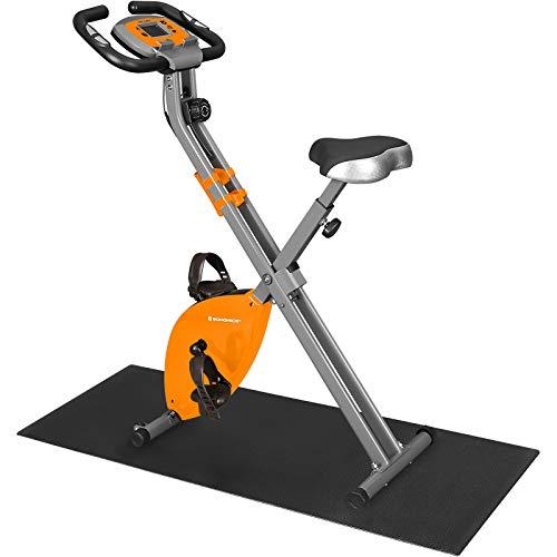 SONGMICS Cyclette Pieghevole, Bicicletta da Allenamento, Resistenza Magnetica a 8 Livelli, con Tappeto Protettivo, Sensore d'Impulso, Supporto Cellulare, capacità di Carico 100 kg, Arancione SXB11OG