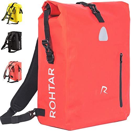 Rohtar - Borsa per Borse Bici - Zaino - Borsa per Bici - Cinghie e Ganci nascondibili e Tessuto in PVC Completamente Impermeabile - 18L/25L - Nero/Rosso/Giallo