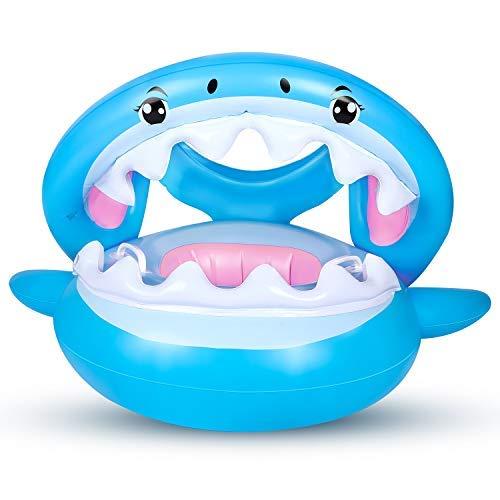 Salvagente Neonato Gonfiabile, Piscina Baby Tettuccio Mutandina Baby Float Salvagente Bambini Float con Regolabile Parasole (6-36 Mesi)
