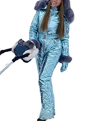 Minetom Tuta da Sci Donna A Prova di Vento Impermeabile Jumpsuit con Cerniera Inverno Calda Cappotto con Cappuccio per Sport all'Aria Aperta A Blu S