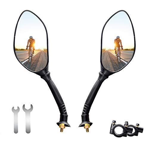 ANVAVA 2 specchietti retrovisori per manubrio bicicletta, regolabili a 360°, per mountain bike, bici elettrica, moto, colore: nero