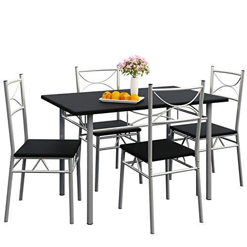 CASARIA Set 5pz Tavolo da Pranzo con 4 Sedie Arredamento Casa Sala Soggiorno Mobili per Cucina