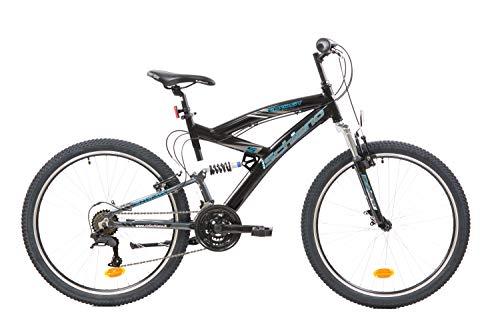 F.Lli Schiano Energy, Bici Biammortizzata Unisex Adulto, Nero-Blu, 26''