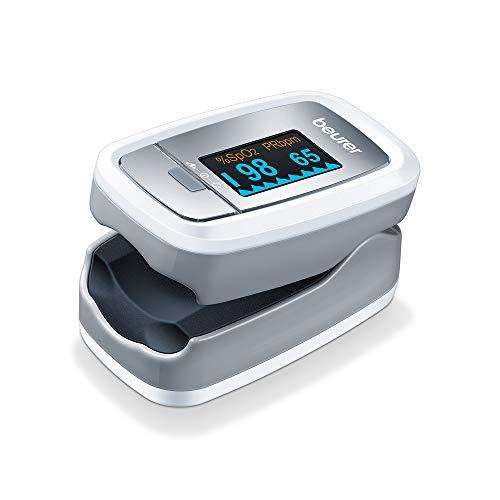 Beurer PO 30 Pulsossimetro per il Monitoraggio della Saturazione di Ossigeno nel Sangue e del Battito Cardiaco, Grigio, 61 x 36 x 32 mm