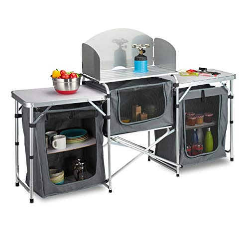 Relaxdays Cucina da Campeggio Pieghevole, Mobiletto Camping con Custodia, Struttura in Alluminio, Outdoor, Bianco/Grigio Unisex Adulto, Set da 1
