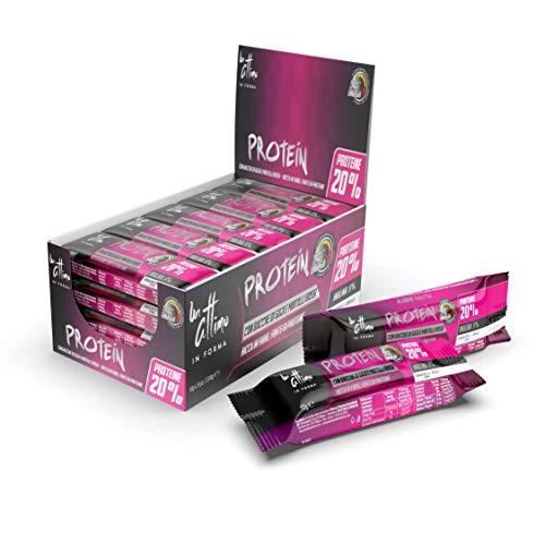 Un-Attimo in Forma, barretta bacche di goji e mirtilli rossi, 20% di proteine, 24x50g, ricca di vitamine e con pochi zuccheri