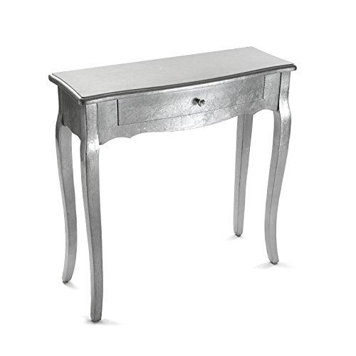 Versa Cagliari Tavolo Consolle, Tavolo da Ingresso, Tavolino Stretto, con 1 cassetto, Misure (A x L x l) 80 x 30 x 80 cm, Legno, Colore Argento
