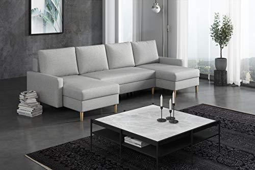 La Petite Maison - Divano angolare convertibile, 290 x 72 x 140 cm, 2 cassapanche, colore: Grigio chiaro