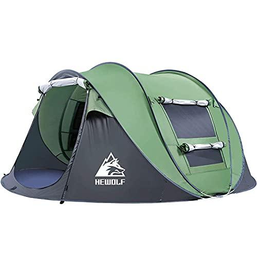 HEWOLF Tenda Automatica Pop-up 2-3 Persone Tenda da Campeggio Istantanee Tenda Familiari Anti UV Tenda da Spiaggia con Portico per Campeggio Pesca Spiaggia, Verde 2-3 Persone