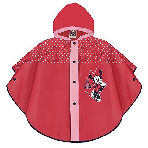 PERLETTI Mantella Pioggia Bimba Minnie Rossa e Rosa - Poncho Antipioggia Minnie per Bambina - Mantella Impermeabile con Cappuccio e Bottoni - K way Bambine Disney Materiale EVA (Rosso, 2-5 anni)