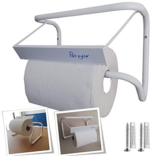 Parpyon Nuovo Portarotolo industriale a muro porta asciugamani bagno per rotoloni asciugatutto Ideale in cucina, garage, palestra, per bobina carta asciugamani monouso (MOD.1)