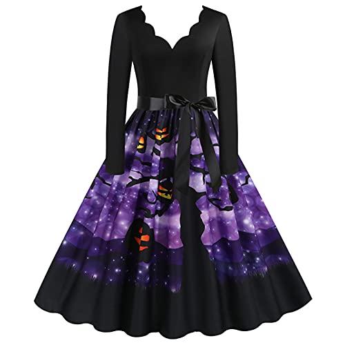 Briskorry Vestito da donna a maniche lunghe per Halloween, con scollo a V, con stampa e elemento horror, per il tempo libero, alla moda, abito da sera, elegante da ballo, con cintura, Lilla 6, XXXL