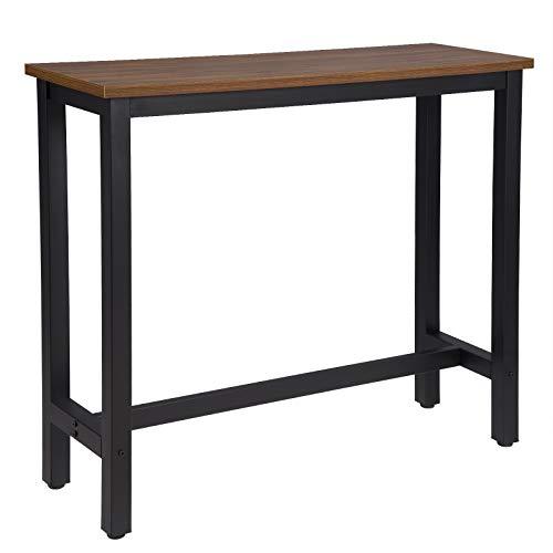 WOLTU BT17dc Tavolo da Bar Rettangolare Alto Tavolino Bancone per Cucina in Metallo Legno 120x40x100 cm