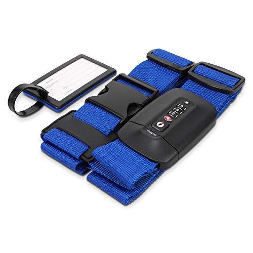 Navaris Cinghia Porta-bagagli Regolabile - Blocco TSA e Cartellino ID - Cintura Porta-pacchi con Serratura Sicurezza per Bagaglio a Mano o Stiva - Blu