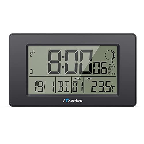 iTronics Orologio Radio da Parete Digitale con Indicatore di Temperatura Sveglia Elettronica Conto alla rovescia, Nero