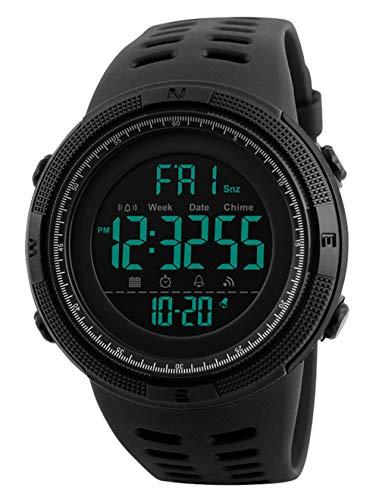 Orologi da polso da uomo - 50M impermeabili digitale Orologi sportivi da uomo militare orologio con quadrante nero LED con sveglia/il conto alla rovescia/cronometro / 12 / 24H per uomo