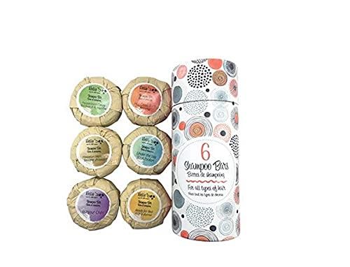 Shampoo per capelli Bio Confezione da 6 pezzi 70g | Sapone antiforfora per tutti gli olii essenziali naturali | 6 profumi senza solfati e parabeni Di Hello Eco Company