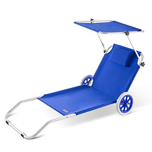 Deuba Casaria Lettino Prendisole Kreta in Alluminio Tetto Sdraia Pieghevole trasportabile 150x52 cm Blu