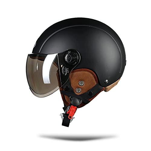 LIONCIANO Caschi Moto Per Uomo e Donna, Caschi Per Ciclomotore Con Visiera Riflettente, Testa Anticollisione Protegge La Sicurezza Stradale Degli Utenti(Nero Opaco, Lenti Argento)