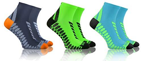 sesto senso Calze Corte Sportive Colorate Jogging Donna Uomo 3-12 Paia Grigio Grafite Turchese 43-47 3 Pack Verde Mix