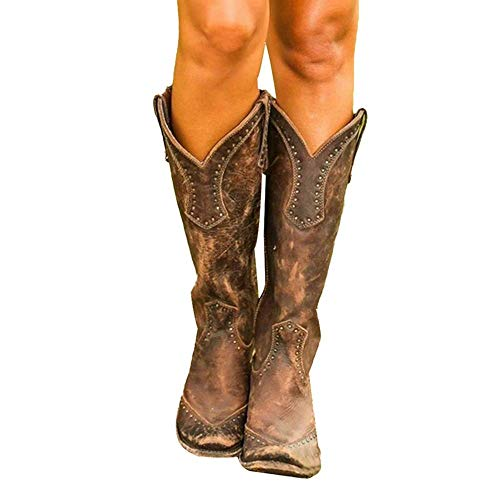 MTHDD Stivali da Donna Stivali da Motociclista Rivetti Stivali da Equitazione in Pelle Tacco Grosso Cowgirl Stivaletti Western da Cowboy,B1,39