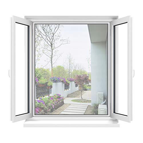 Apalus Zanzariera Universale Finestra 130 x 150 CM, 1 Pezzo – Rete Zanzariera Fissa Regolabile - CON Taglierino e Smoother per Installazione, Bianca