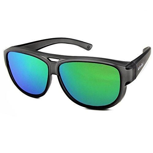 ActiveSol Sovraocchiali da sole di design   Occhiali modello aviatore   Occhiali da sole sovrapponibili con protezione UV400   polarizzati   24 grammi (Nero laccato)