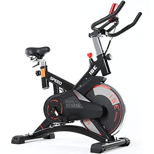 ISE Bicicletta Spinning Cyclette Indoor con Volano 13 KG & Resistenza Regolabile, Bici da Fitness Ergonomica con Sensore di Impulso, Porta Celullare, Ruote di Trasporto, Max.120KG, SY-7005-1