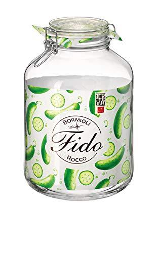 Bormioli Rocco Fido - Barattolo di vetro a chiusura ermetica, 5 litri, Trasparente