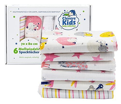 Clevere Kids mussole in cotone | 6 pezzi | 70x80 | tessuto doppio | motivi colorati | OEKOTEX