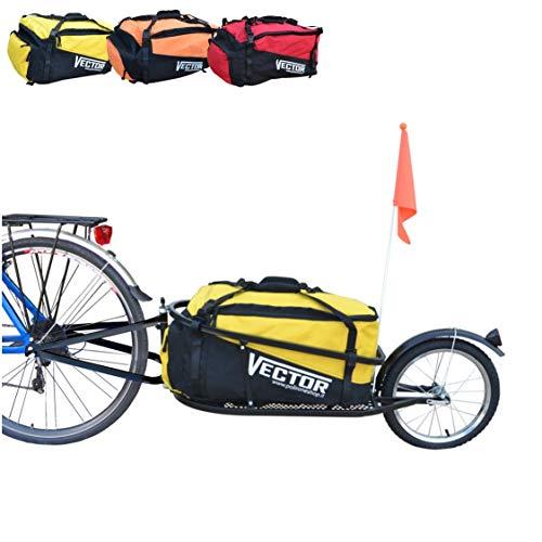 Polironeshop Vector Rimorchio Carrello carrellino per Bici Bicicletta monoruota con Borsone Borsa Zaino Trasporto Materiale Merce Spesa cicloturismo (Giallo)