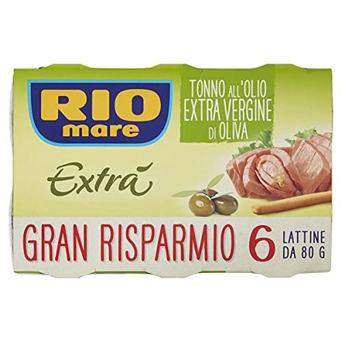 Rio Mare - Tonno all'Olio Extravergine di Oliva, 6 Lattine da 80 g