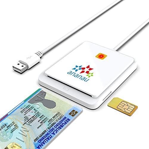 Lettore Smart Card Firma Digitale Carta Identità Scheda Elettronica Tessera Sanitaria Inps Aruba Reader Schede Dispositivo Compatibile Apple Mac Windows Computer Sim Memory Cavo Usb Portatile Bianco