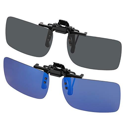 Hifot Clip su occhiali da sole 2 pezzi, polarizzata lente adatta sopra occhiali, Flip up senza telaio miopia occhiali da sole