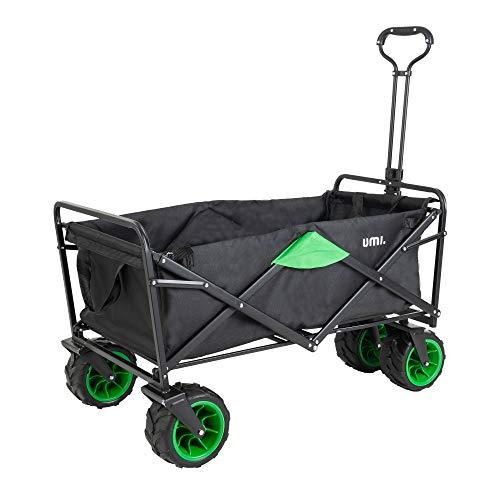 Amazon Brand - Umi Carrello fuori strada trasporto carrello a mano carrello giardino pieghevole le gomme con cuscinetto adatto a tutti i terreni (Nero/Verde)