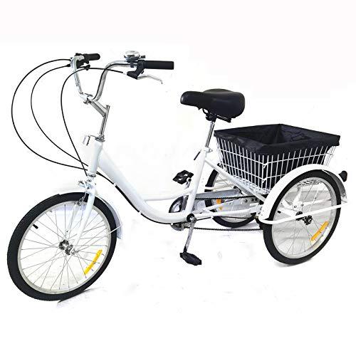 OUKANING - Triciclo da 20 pollici, 8 velocità, 3 ruote, per adulti, con cestino, colore: Bianco
