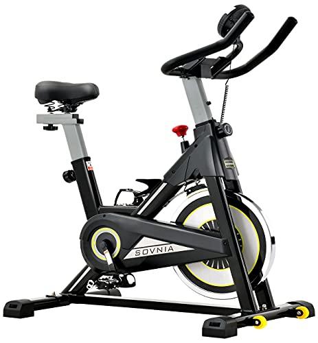 Cyclette da Allenamento Professionale Cyclette SOVNIA Cyclette, Bici da Fitness Bici Allenamento Cyclette con supporto per iPad, monitor LCD e comodo cuscino del sedile (Black)