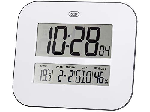 Trevi OM 3520 D Orologio Digitale con Grande Display LCD da Muro, Termometro, Calendario Multilingue, Installazione a Parete o Tavolo, Bianco