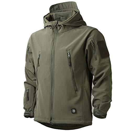 MakingDa, giacca impermeabile da uomo casual con cappuccio Softshell foderato in pile giacca da corsa tattico militare lavoro pesca caccia arrampicata Verde L