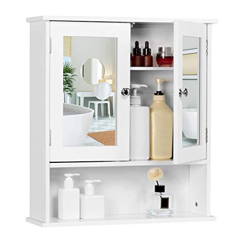Yaheetech Armadietto a Specchio da Bagno Mobiletto Pensile Sospeso Mobile Bagno Specchiera da Parete Muro con 2 Ante Salvaspazio Bianco 56 × 13 × 58 cm
